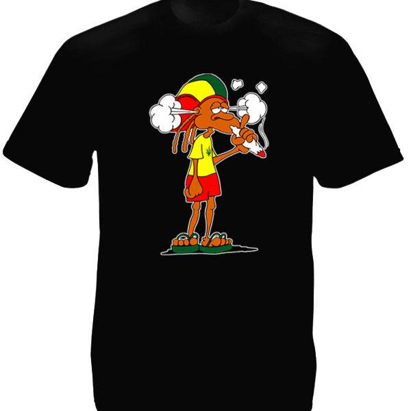 T-Shirt avec Rasta qui Fume un Gros Joint d'Herbe