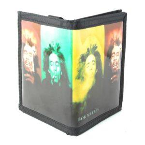 Portefeuille Bob Marley Riant et Fumant un Joint de Cannabis vert Jaune Rouge