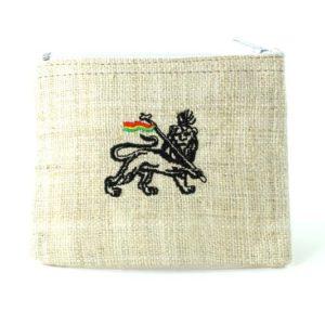 Mini Porte-monnaie Chanvre Blanc Lion de Juda Fermeture Éclair