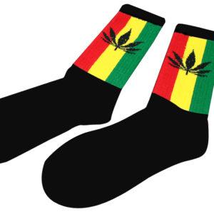 Chaussettes Noires Longues Homme Femme Feuilles de Marijuana