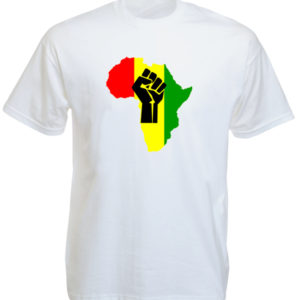 TEE-SHIRT BLACK POWER AFRIQUE BLANC