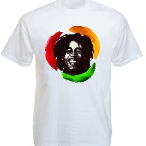 TEE-SHIRT PHOTO BOB MARLEY BLANC