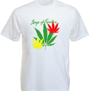 TEE-SHIRT FEUILLES CANNABIS VERT JAUNE ROUGE SONGS OF FREEDOM BLANC