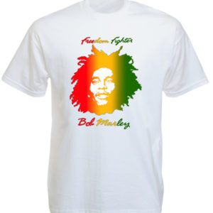 TEE-SHIRT REGGAE FREEDOM FIGHTER BLANC