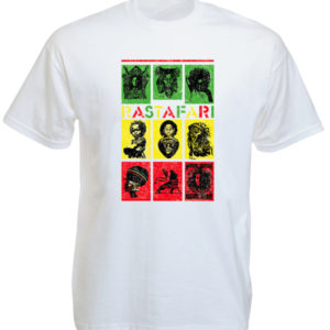 TEE-SHIRT CASES VERT JAUNE ROUGE DESSINS RASTA BLANC