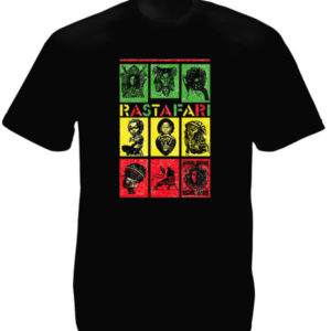TEE-SHIRT CASES VERT JAUNE ROUGE DESSINS RASTA NOIR
