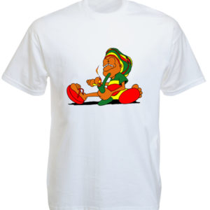 TEE-SHIRT CARTOON RASTA FUMEUR DE BONG BLANC