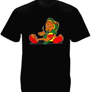 TEE-SHIRT CARTOON RASTA FUMEUR DE BONG NOIR