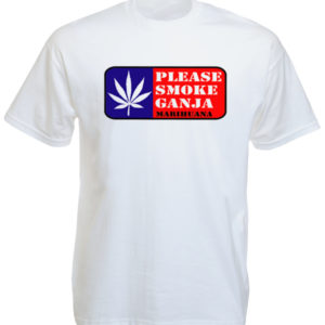 TEE-SHIRT PLEASE SMOKE GANJA BLANC