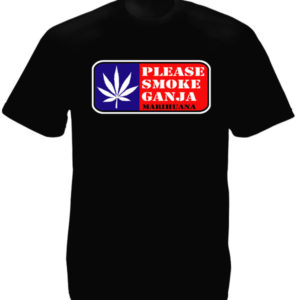 TEE-SHIRT PLEASE SMOKE GANJA NOIR