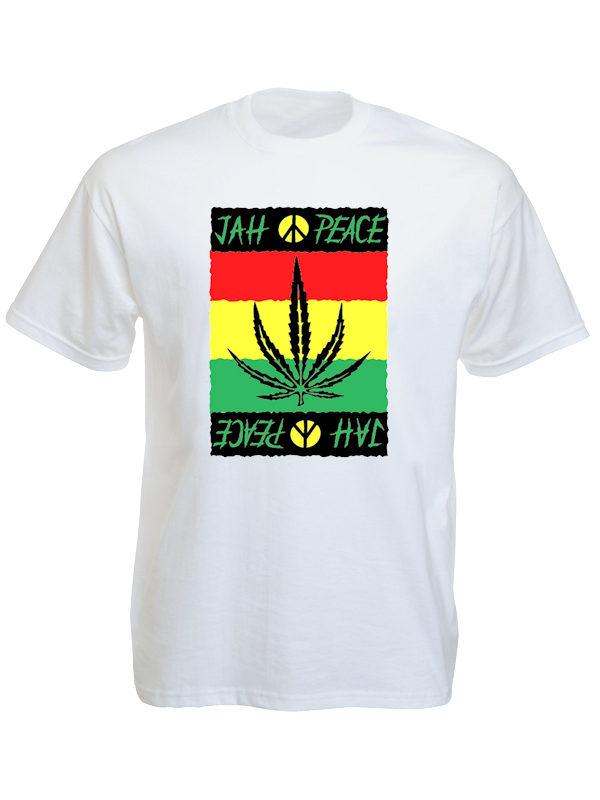 TEE-SHIRT FEUILLE DE GANJA JAH PEACE BLANC