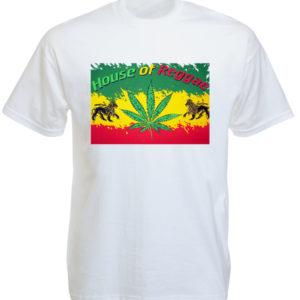 TEE-SHIRT HOUSE OF REGGAE COULEURS RASTA BLANC
