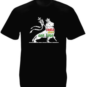 TEE-SHIRT LION RASTA ONE LOVE NOIR