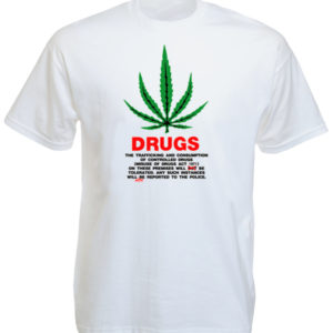 TEE-SHIRT DRUGS FEUILLE DE GANJA BLANC
