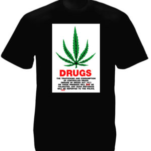 TEE-SHIRT DRUGS FEUILLE DE GANJA NOIR