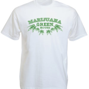 TEE-SHIRT MARIJUANA GREEN HOUSE BLANC