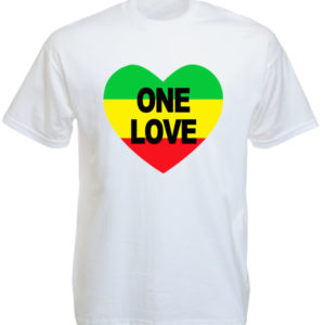 TEE-SHIRT ONE LOVE COEUR COULEURS RASTA BLANC