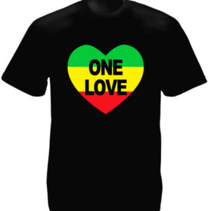 TEE-SHIRT ONE LOVE COEUR COULEURS RASTA NOIR