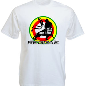 TEE-SHIRT LION REGGAE ONE LOVE BLANC
