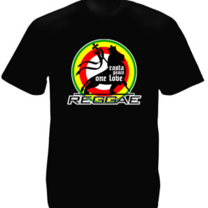 TEE-SHIRT LION REGGAE ONE LOVE NOIR